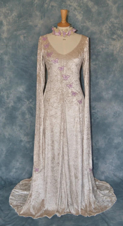 melisande a fantasy faery elvish elvish wedding dress Elvish Medieval Wedding Dress Embroidered with Butterflies zoom