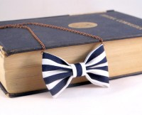 Nautical Stripes Bow Tie Necklace White and Blue Navy Bow