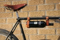Bicycle Wine Rack Tan Leather Bike Bottle Holder