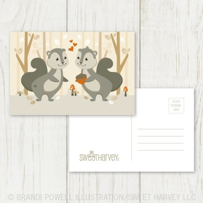 Squirrel Couple Postcard Set - Squirrel, Acorn, Nuts, Woodland Animal, Autumn - Grey, Brown, Ivory, Orange (Set of 8)