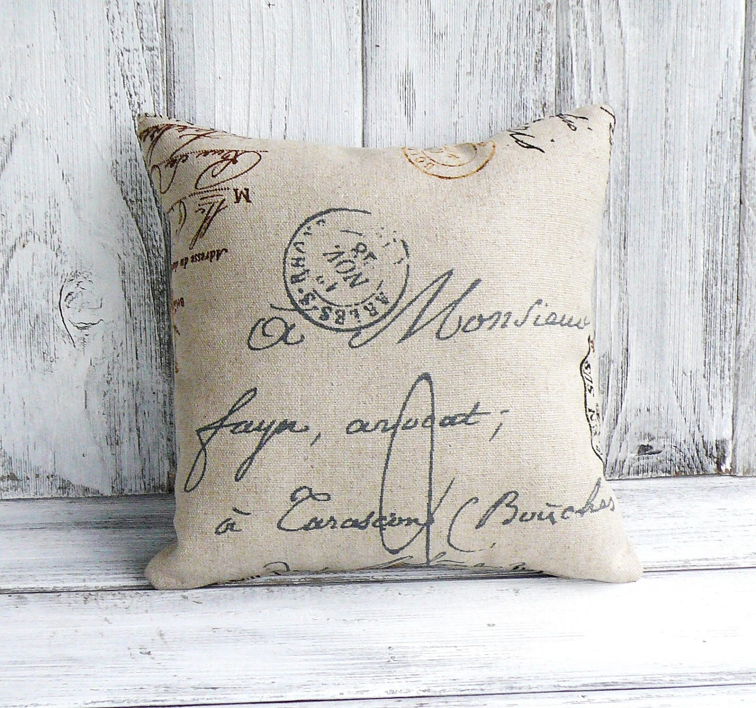 French Script Pillow With Postal Theme Designer Fabric With