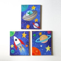 Kids Wall Art SPACE ART SET Set of 3 8x10 acrylic canvases