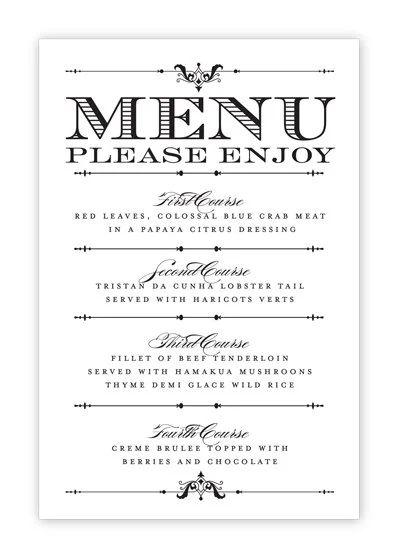 menu template printable