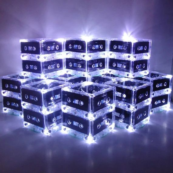 New year s mixtape cassette tape lighted wedding table