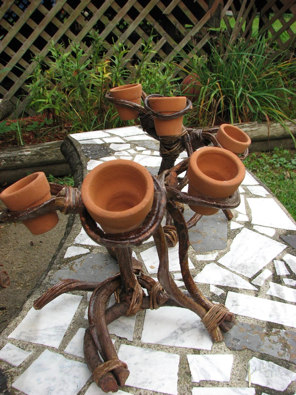 Items Similar To Twigs And Terra Cotta Pots Candle Holder