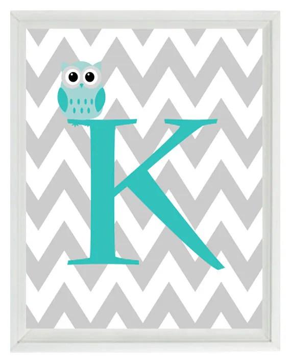 Cute Wallpapers First Initial Letter A Chevron Initial Letter Art Print Owl Nursery Aqua Gray