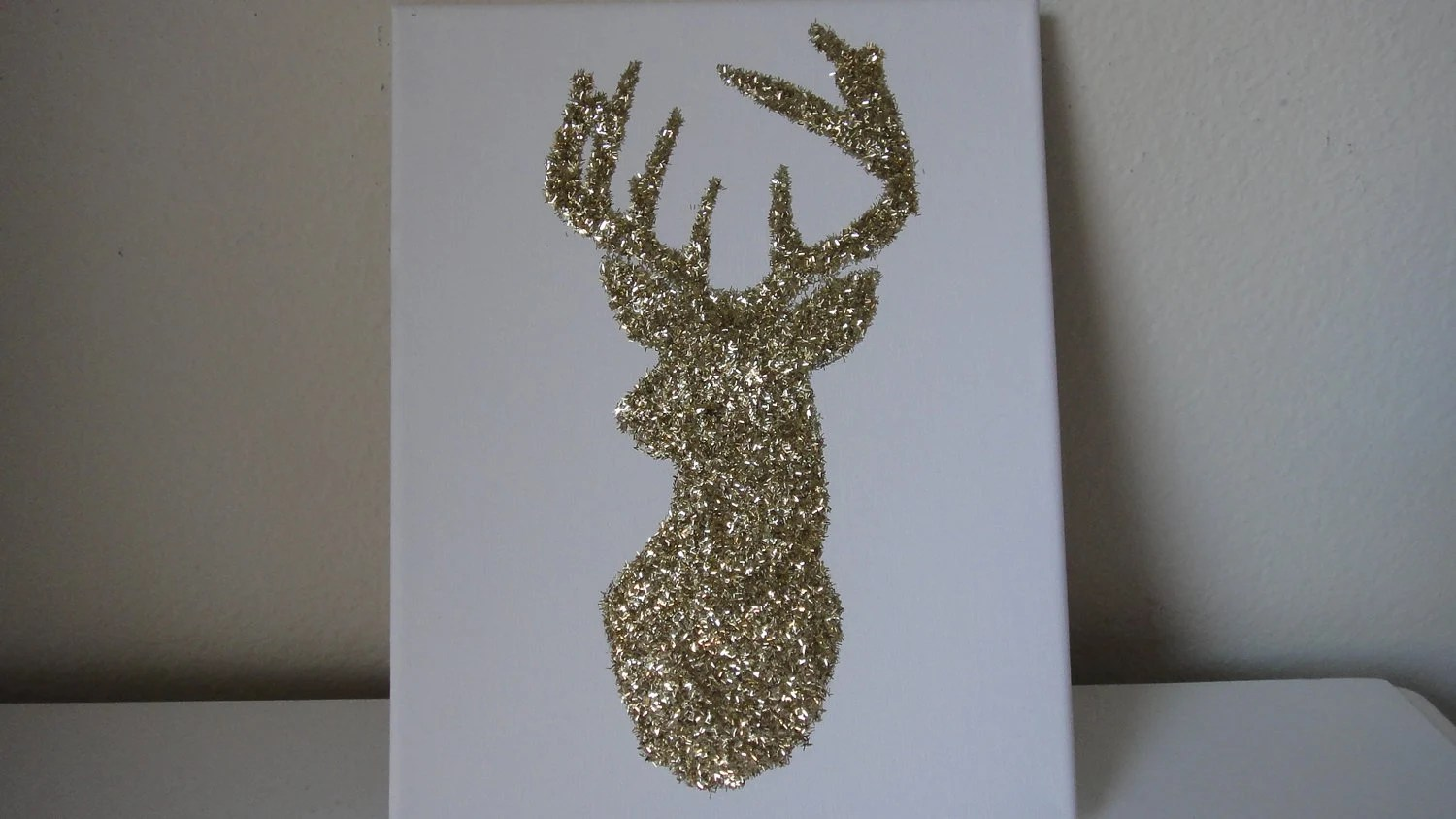 11x14 Gold Glitter Reindeer Deer Facing Left Canvas Wall Art