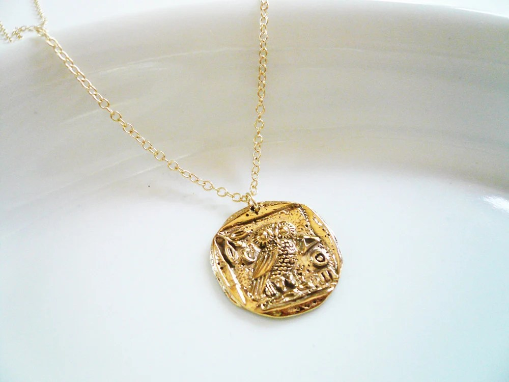 Gold Coin Necklace Rustic Gold Athena Coin Necklace In Brass