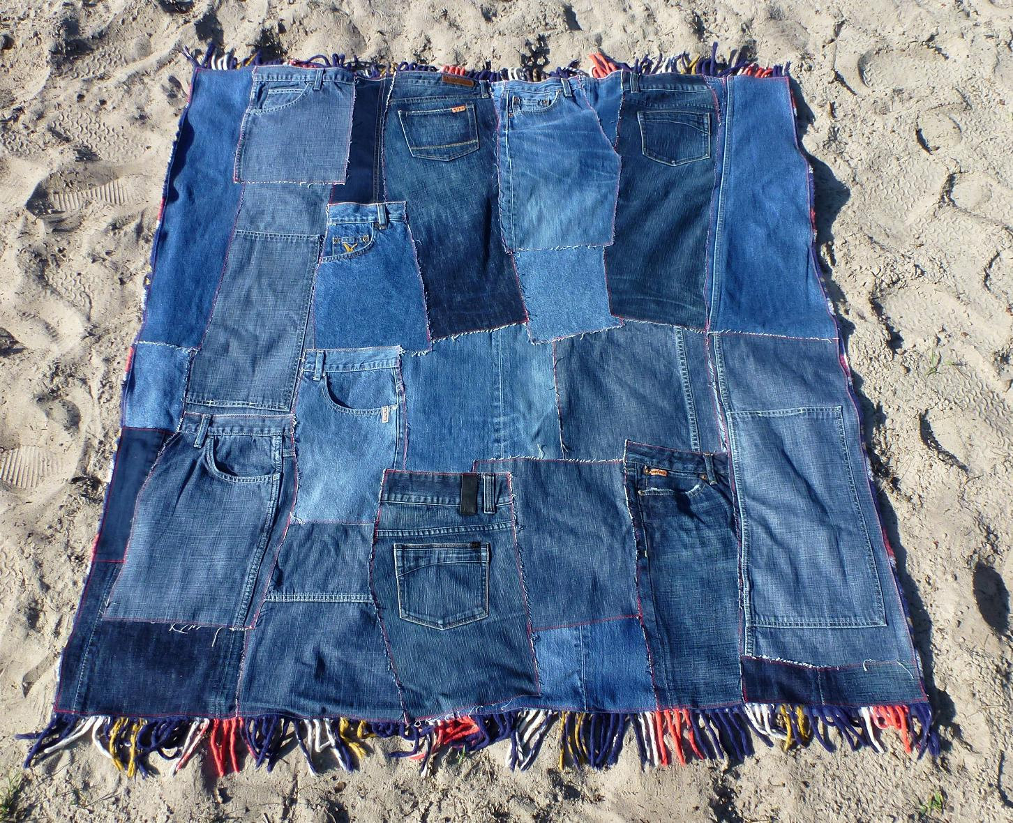 Hondenspeeltjes Maken Patchwork Denim Quilt Plaid Picnic Blanket With Fringe Eco