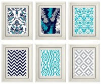 Set of Six Modern/Vintage Turquoise/Gray Wall Art 8x11 Print