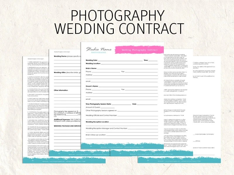 Wedding Photography contract business forms flowers editable - photography contracts