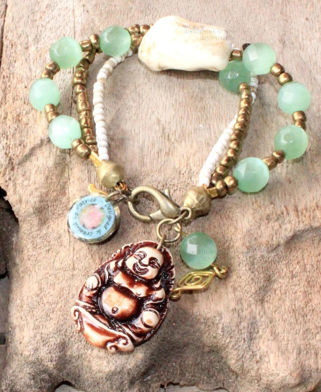 Items Similar To Bohemian Ivory Jade Buddha Bracelet
