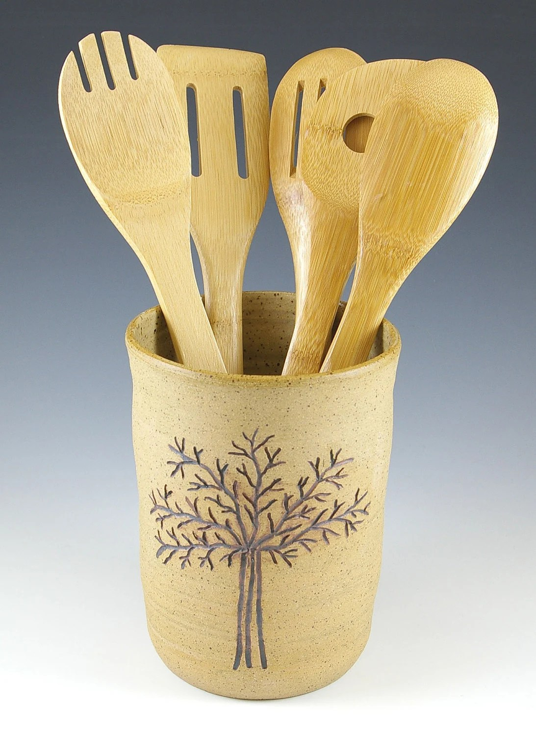 Rustic Utensil Crock Handmade Ceramic Utensil Holder Crock Spoon Holder Tree