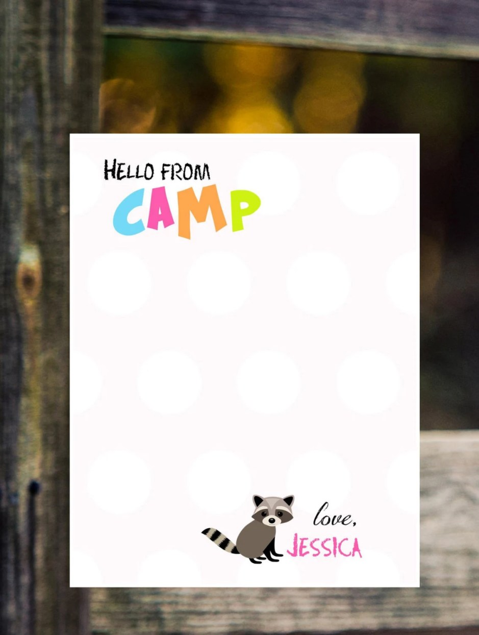 Camp stationery girl note...