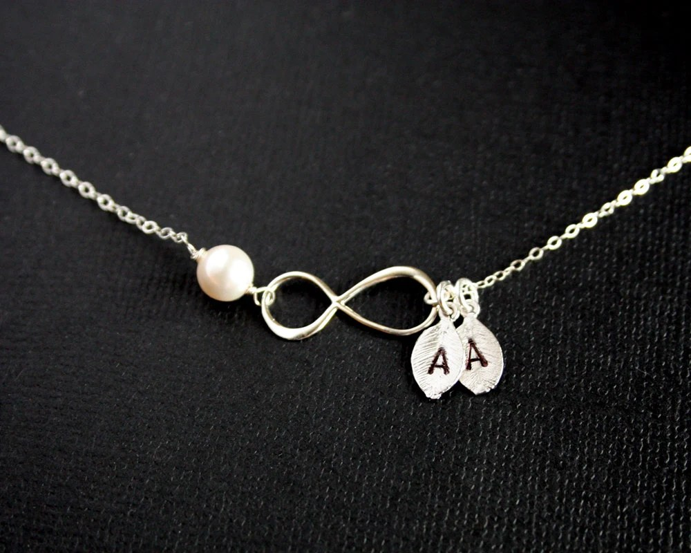 Two Initials Personalized Infinity Necklace With Initial