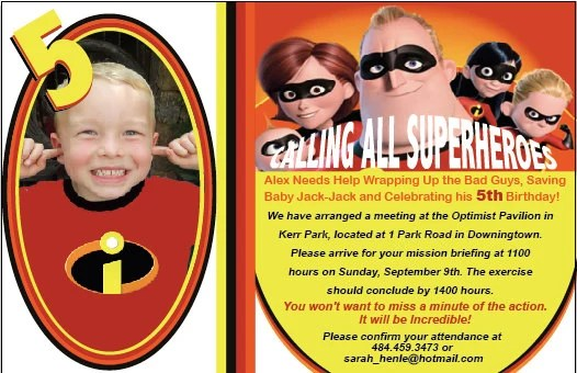Incredibles birthday party invitation Super Hero Party - free event invitation templates