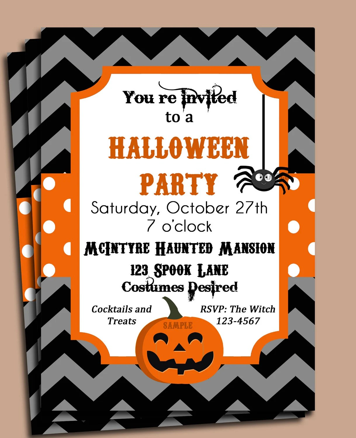 Halloween Party Invitation Printable or Printed with FREE SHIPPING - halloween invitation template