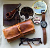 Leather Pipe & Tobacco Pouch in British Tan