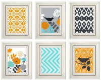 Items similar to Set of Six Modern/Vintage Orange ...