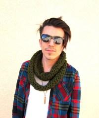Men's army green infinity scarf hipster circular circle