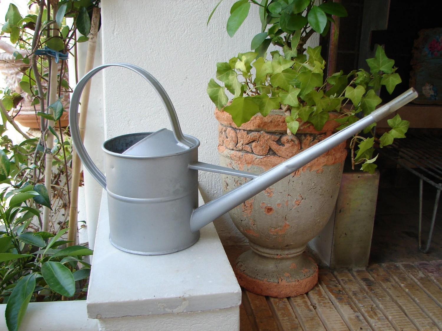 Watering Cans With Long Spouts Vintagelong Spout Metal Watering By Shabbyfrenchstyle On Etsy
