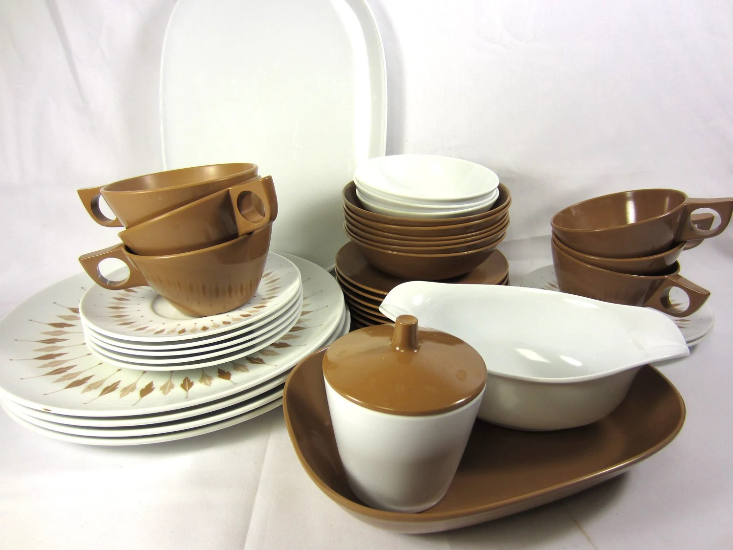 Kitchen No 6 Hull Vintage Melmac Dishes Brown And White Leaf Design By