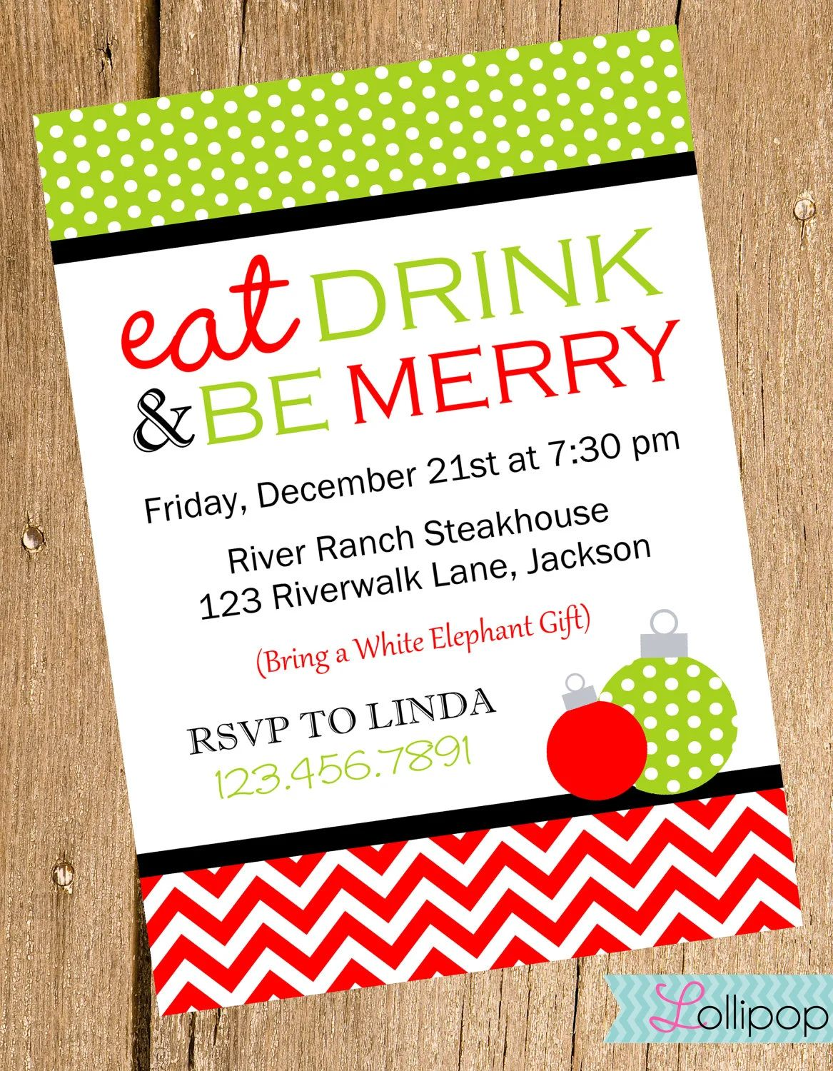 eat drink and be merry invitations