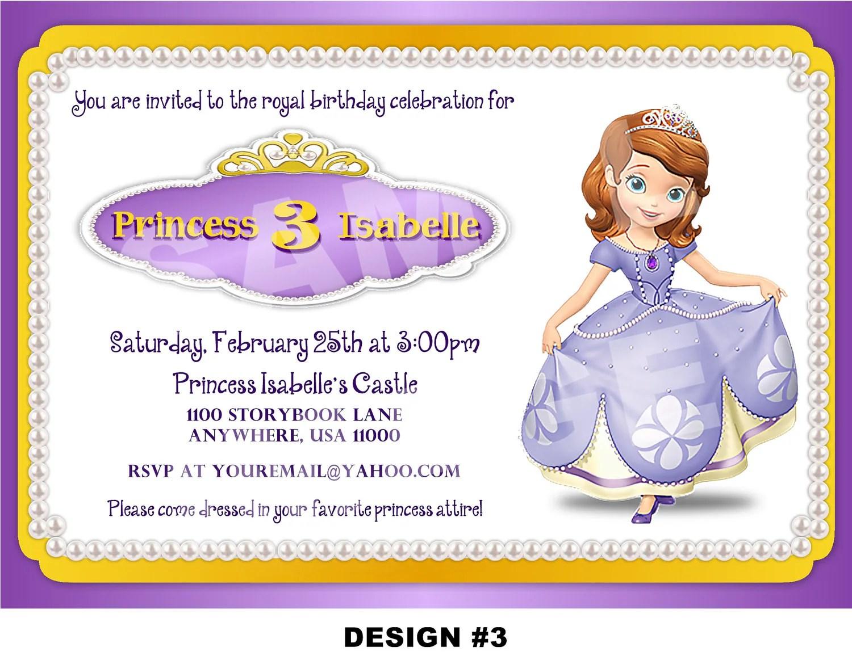 Disney Sofia The First Party Invitations Printable P O X