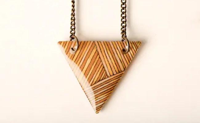 Striped Triangle Necklace in Peach, Ochre