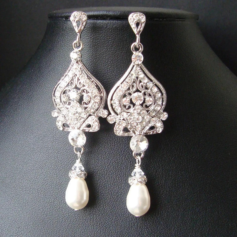 vintage bridal earrings chandelier wedding earrings zoom