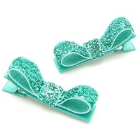 Aqua Hair Clips Aqua Glitter Tuxedo Bows Sparkly One Pair