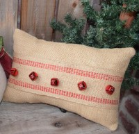 Christmas Pillow Christmas Burlap pillows Red Jingle bells