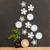 White Flower Wall Decor White Blossoms Pop-up Set of 12