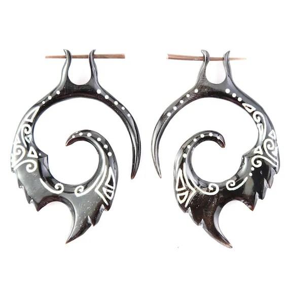 Fake Gauge Earrings Tribal Horn Earrings Fake by NoHolesBarred