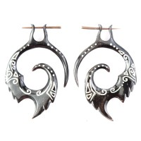 Fake Gauge Earrings Tribal Horn Earrings Fake by NoHolesBarred