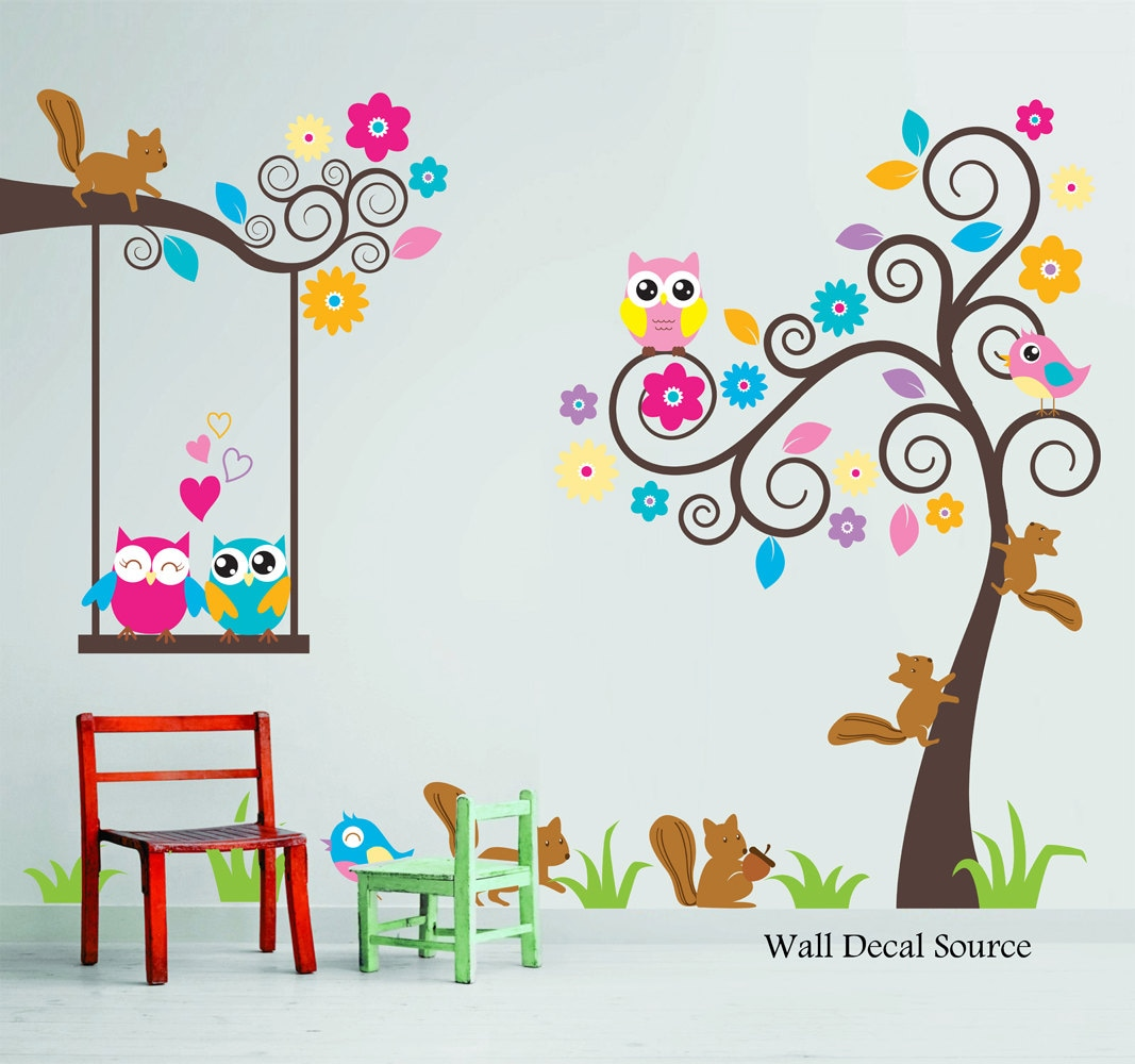 Walls For Kids Nursery Wall Decal Birds Owls Squirrels By Walldecalsource