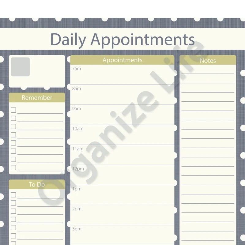 Daily Appointment Planner Printable PDF Instant Download