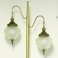 Vintage floor lamp glass shades 3 way switch pole lamp