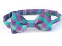 Child Bow Tie Grey Teal and Purple Check