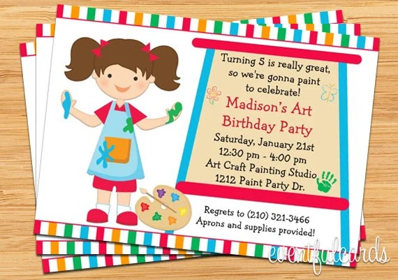 Art (Rainbow) Birthday Party Ideas Art party, Favors and Rainbow art - best of invitation party card