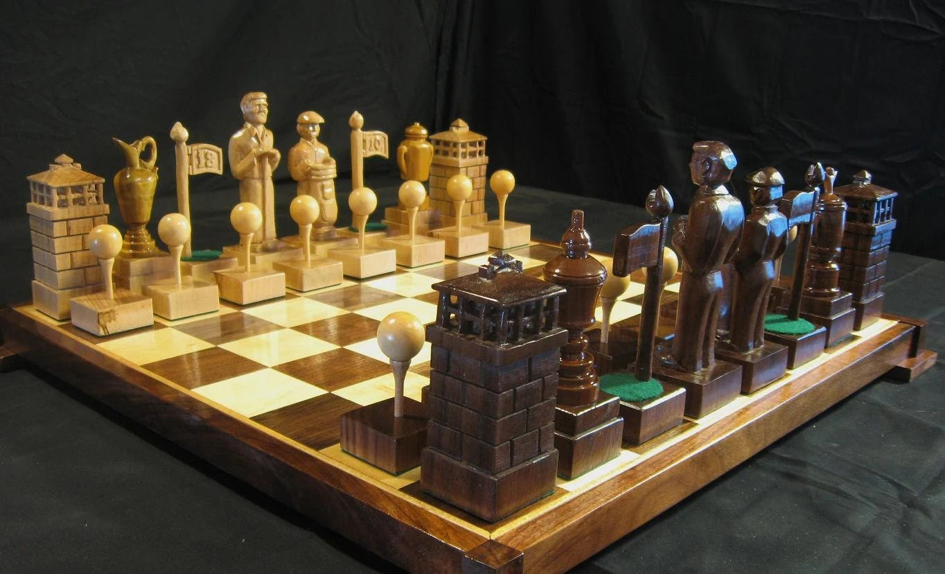 Personalized Chess Set Gift The Golf Chess Set By Jim Arnold