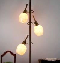 Vintage Tension Pole Lamp Eames Era Glass Globes Floor to