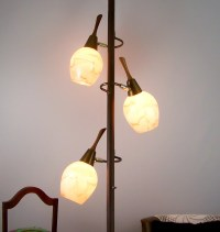 Vintage Tension Pole Lamp Eames Era Glass Globes Floor to