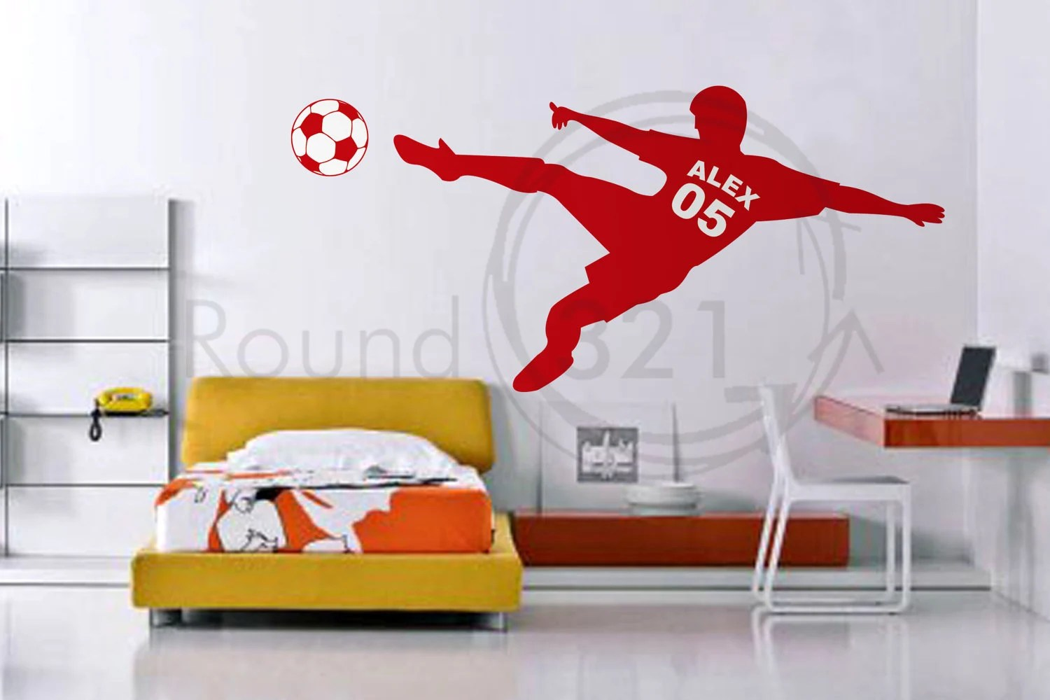 Soccer Wall Decal With Personalized Name Number And By