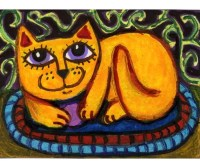 Whimsical Animal Art Cat Print Kids Wall Art Yellow Cat