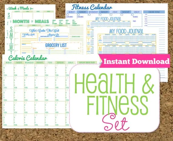 INSTANT DOWNLOAD Fitness and Health Printables Set-Workout