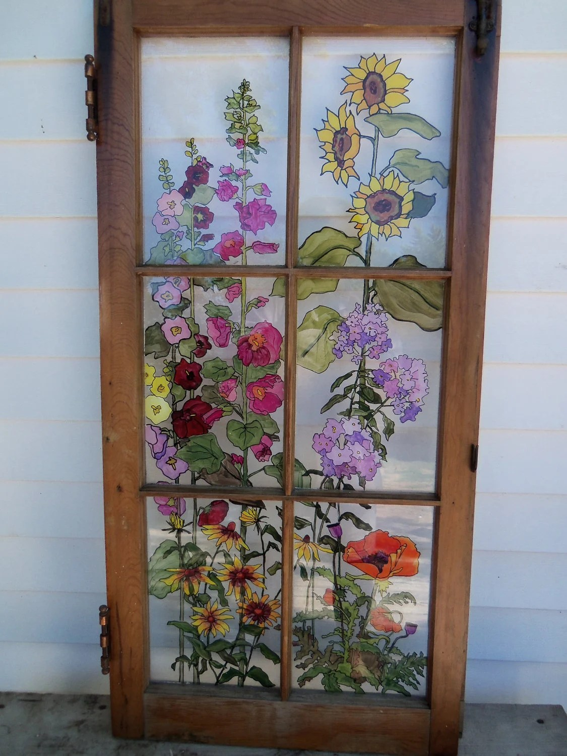 Painted Vintage Window Grandma's Garden