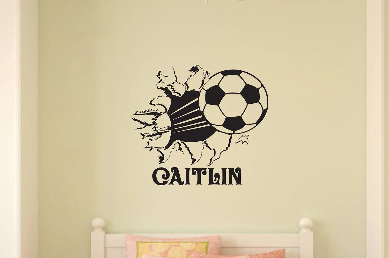 Soccer Ball Bursting Through Wall Vinyl Wall Decal Sticker Art