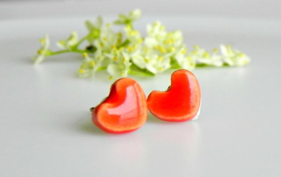 Tiny Orange Ceramic Earrings Shiny Post Earrings