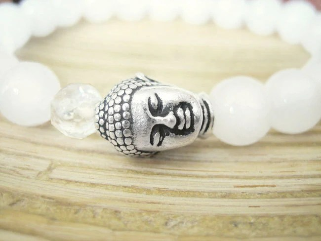Buddha Bracelet White Jade Bracelet With Quartz Crystal